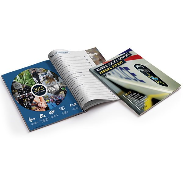 annual report design + printing for Barrie Police